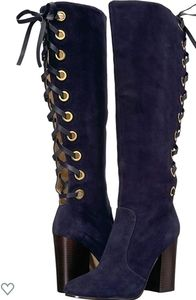 Nine West suede knee-high lace-up boots in navy
